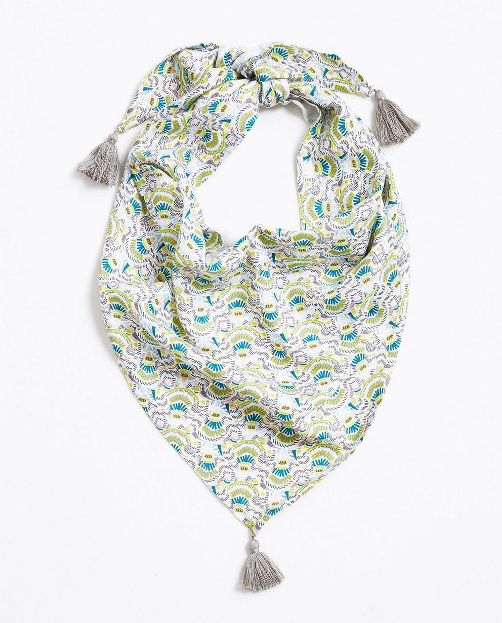 Foulard triangulaire  - viscose, imprimé coloré - JBC